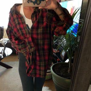 Tops - oversized cozy soft plaid boyfriend flannel